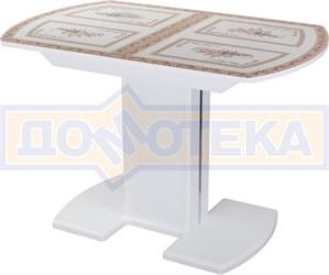 Стол со стеклом - Танго ПО-1 БЛ ст-72 05-1 БЛ/БЛ  ,белый