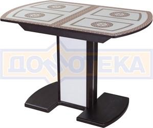 Стол со стеклом - Танго ПО-1 ВН ст-71 05-1 ВН/БЛ ,венге