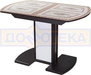 Стол со стеклом - Танго ПО-1 ВН ст-72 05-1 ВН/БЛ ,венге