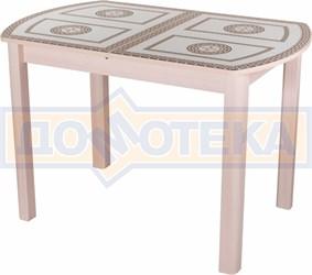 Стол со стеклом - Танго ПО-1 МД ст-71 04 МД ,молочный дуб