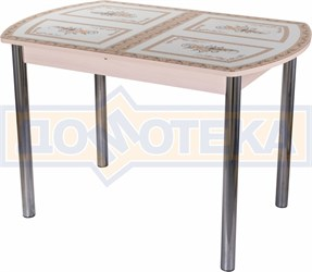 Стол со стеклом - Танго ПО-1 МД ст-72 02 ,молочный дуб