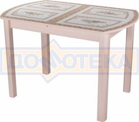 Стол со стеклом - Танго ПО-1 МД ст-72 04 МД ,молочный дуб