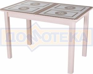 Стол со стеклом - Танго ПР-1 МД ст-71 04 МД ,молочный дуб