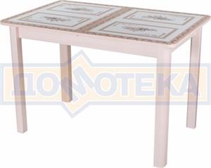 Стол со стеклом - Танго ПР-1 МД ст-72 04 МД ,молочный дуб