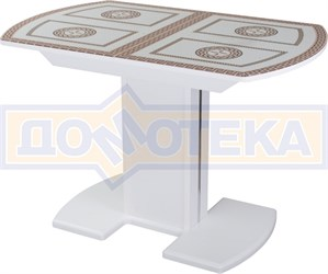 Стол со стеклом - Танго ПО БЛ ст-71 05 БЛ/БЛ ,белый
