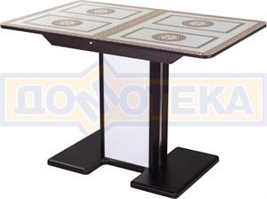 Стол со стеклом - Танго ПР-1 ВН ст-71 05-1 ВН/БЛ ,венге