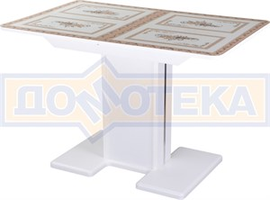 Стол со стеклом - Танго ПР-1 БЛ ст-72 05-1 БЛ/БЛ  ,белый