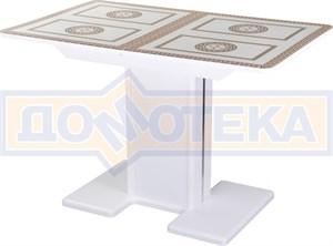 Стол со стеклом - Танго ПР-1 БЛ ст-71 05-1 БЛ/БЛ ,белый