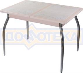 Стол кухонный Каппа ПР ВП МД 01 пл 42, молочный дуб, бежевая плитка с сакурой