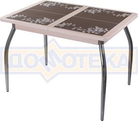Стол кухонный Каппа ПР ВП МД 01 пл 44, молочный дуб, коричневая плитка с сакурой