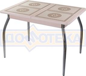 Стол кухонный Каппа ПР ВП МД 01 пл 52, молочный дуб, плитка с греческим орнаментом
