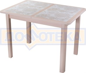 Стол кухонный Каппа ПР ВП МД 04 МД пл 32, молочный дуб, плитка с цветами