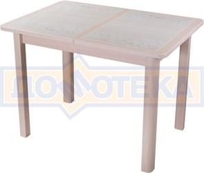 Стол кухонный Каппа ПР ВП МД 04 МД пл 42, молочный дуб, бежевая плитка с сакурой