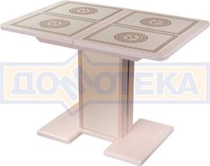 Стол кухонный Каппа ПР ВП МД 05 МД/КР пл 52, молочный дуб, плитка с греческим орнаментом