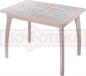 Стол кухонный Каппа ПР ВП МД 07 ВП МД пл 32, молочный дуб, плитка с цветами