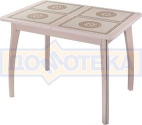 Стол кухонный Каппа ПР ВП МД 07 ВП МД пл 52, молочный дуб, плитка с греческим орнаментом