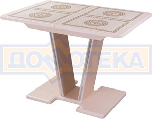 Стол с плиткой - Каппа ПР ВП МД 03 МД/КР пл 52, молочный дуб, плитка с греческим орнаментом