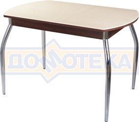 Столы с камнем Румба ПО КМ 06 ОР 01, орех/камень песочного цвета