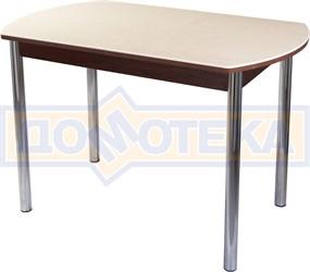 Столы с камнем Румба ПО КМ 06 ОР 02, орех/камень песочного цвета