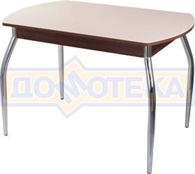 Столы со стеклом Танго ПО ОР ст-КР 01, орех/закаленное стекло кремового цвета