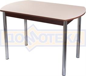 Столы со стеклом Танго ПО ОР ст-КР 02, орех/закаленное стекло кремового цвета