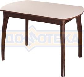 Столы со стеклом Танго ПО ОР ст-КР 07 ВП ОР, орех/закаленное стекло кремового цвета