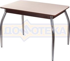 Столы со стеклом Танго ПР ОР ст-КР 01, орех/закаленное стекло кремового цвета