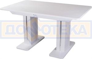 Обеденный стол с камнем Румба ПР-2 КМ 04 БЛ 05-2 БЛ/БЛ КМ 04, белый/камень белого цвета