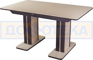 Обеденный стол с камнем Румба ПР-2 КМ 06 ВН 05-2 ВН/КР КМ 06, венге/камень песочного цвета
