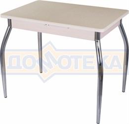 Стол с камнем Румба ПР-М 06 МД 01, молочный дуб/камень песочного цвета
