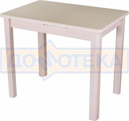Стол с камнем Румба ПР-М 06 МД 04 МД, молочный дуб/камень песочного цвета