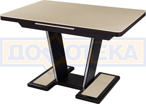 Обеденный стол с камнем Реал ПР-1 КМ 06 ВН 03-1 ВН, венге/камень песочного цвета