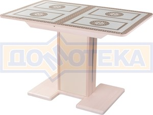 Стол кухонный Танго ПР МД ст-71 05 МД/КР, молочный дуб, греческий орнамент