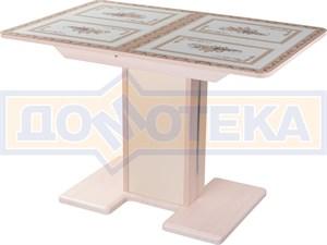 Стол кухонный Танго ПР МД ст-72 05 МД/КР, молочный дуб, растительный орнамент