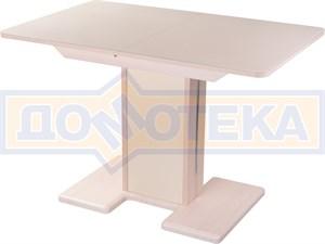 Стол кухонный Танго ПР МД ст-КР 05 МД/КР, молочный дуб, стекло кремового цвета