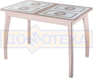 Стол обеденный  Танго ПР-1 МД ст-71 07 ВП МД, молочный дуб, греческий орнамент