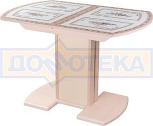 Стол кухонный Танго ПО МД ст-72 05 МД/КР, молочный дуб, растительный орнамент