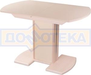 Стол кухонный Танго ПО МД ст-КР 05 МД/КР, молочный дуб, стекло кремового цвета