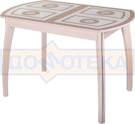Стол кухонный Танго ПО МД ст-71 07 ВП МД, молочный дуб, греческий орнамент