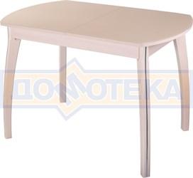 Стол кухонный Танго ПО МД ст-КР 07 ВП МД, молочный дуб, стекло кремового цвета