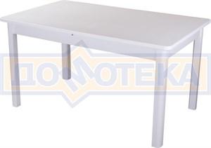 Обеденный стол с камнем Румба ПР-2 КМ 04 БЛ 04 БЛ, белый/камень белого цвета