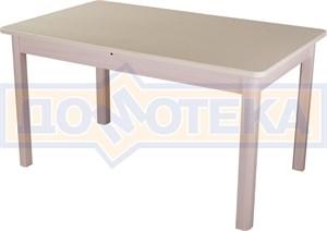 Обеденный стол с камнем Румба ПР-2 06/МД 04 МД молочный дуб / камень песочного цвета