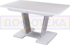Обеденный стол с камнем Румба ПР-2 с центральной ножкой 04/БЛ 03-2 БЛ, белый/камень белого цвета