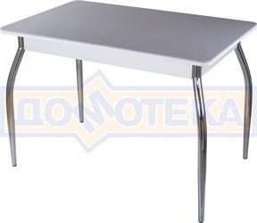 Столы с камнем Румба ПР КМ 07 БЛ 01, искусственный камень серого цвета с белыми вкраплениями/белый