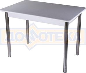 Столы с камнем Румба ПР-1 КМ 07 БЛ 02, искусственный камень серого цвета с белыми вкраплениями/белый