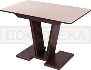 Стол кухонный Танго ПР ОР ст-КР 03 ОР, орех, стекло кремового цвета